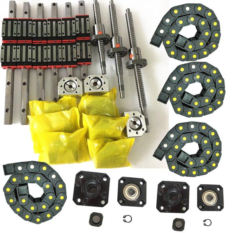 ballscrews 1605 350 650 850MM HGR15 300 600 800MM supported rails 12HGH20CA slider blocks 3 nut