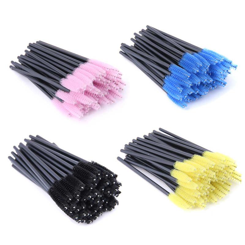 YSDO 50 шт. ресниц кисточки макияж одноразовые ресницы кисточки нейлон ресницы набор кистей для макияжа инструменты пластик гребень кисточки