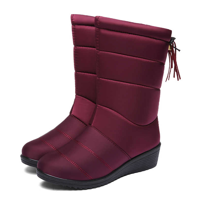 Snow Boots Winter Women Boots Female Mid-Calf Down Boots Winter Shoes Woman Plush Insole Botas Waterproof Ladies Girls