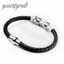 ФОТО wholesale hot sale new fashion fine jewelry men cross stainless steel leather bracelet man vintage accessories free shipping
