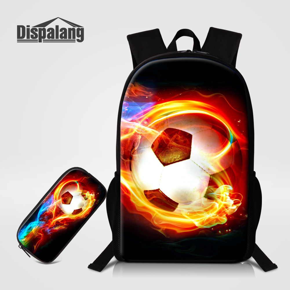 Dispalang 2 PCS/Set Boys Backpack+Pencil Case Creative Footballs School Bags For Teens Soccers Printed Primary Bookbags Bagpacks dispalang brand laptop backpack flamingo pattern multifunction rucksack men casual daypacks unisex school bookbags bagpacks pack