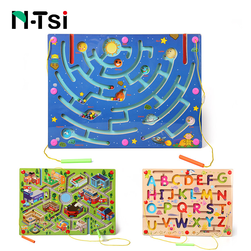 N-Tsi Wooden Maze Magnetic Game Puzzle Toys for Children Kids Educational Toy Gift gift n home