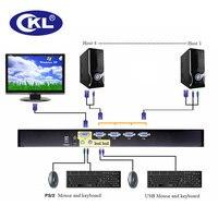 CKL-9134UP 4ポートusb & ps/2コンボvgaオートkvmスイッチラックマウントスイッチャー用キーボードビデオマウスpcモニター金属