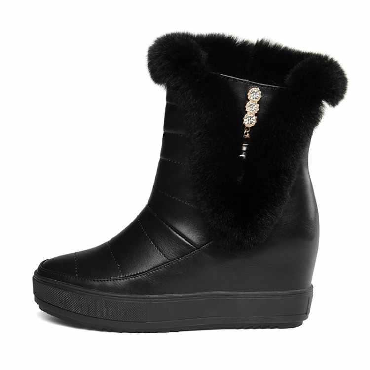MLJUESE 2018 kadın botları tavşan saç kürk kristal artan takozlar boyutu 33-40 kışlık botlar kar botları parti elbise