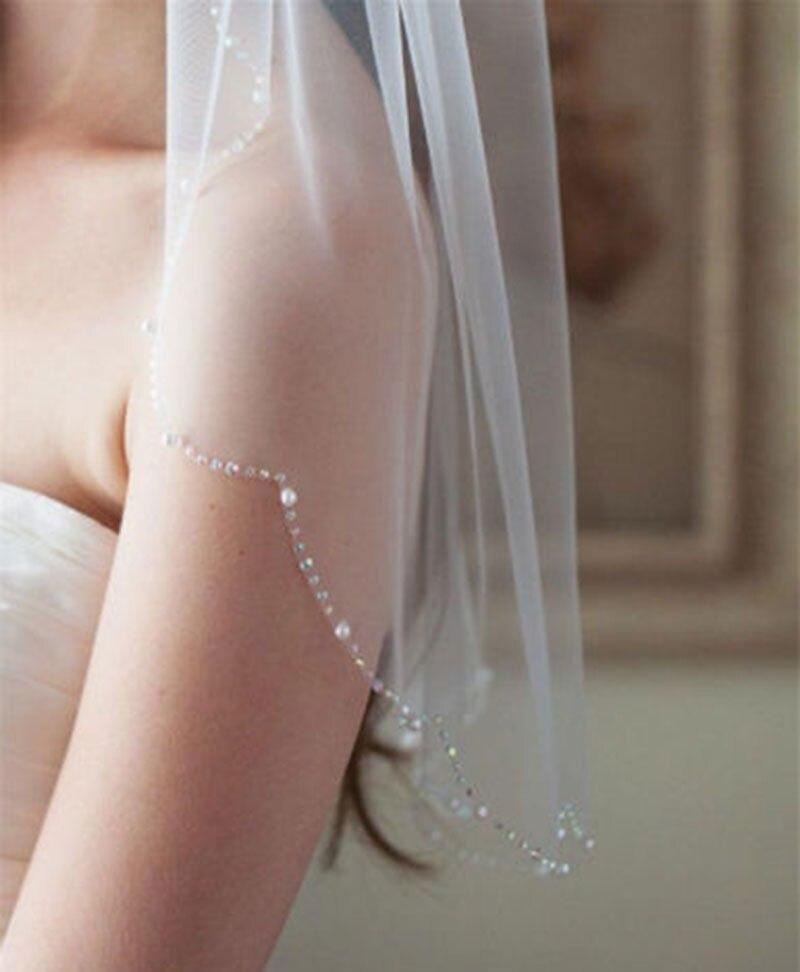 Branco/Marfim 1 Corte Camada Bead Borda Véu de Renda de Casamento Da Noiva Véu Véu Blush Barato Véu de noiva Acessórios Do Casamento véu de Noiva
