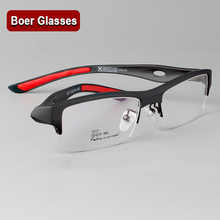 New Comfortable Semi-rim eyeglasses frame RX-able myopia prescription men's glasses frame 1077
