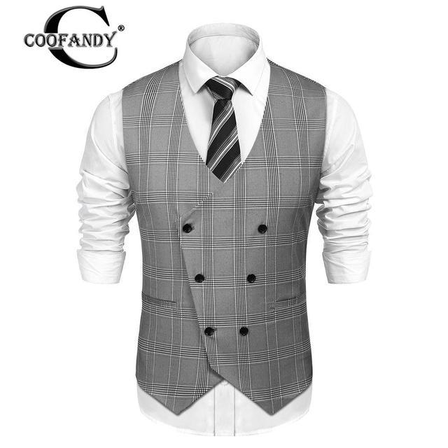 COOFANDY Mens Slim Fit Plaid Suit Vest
