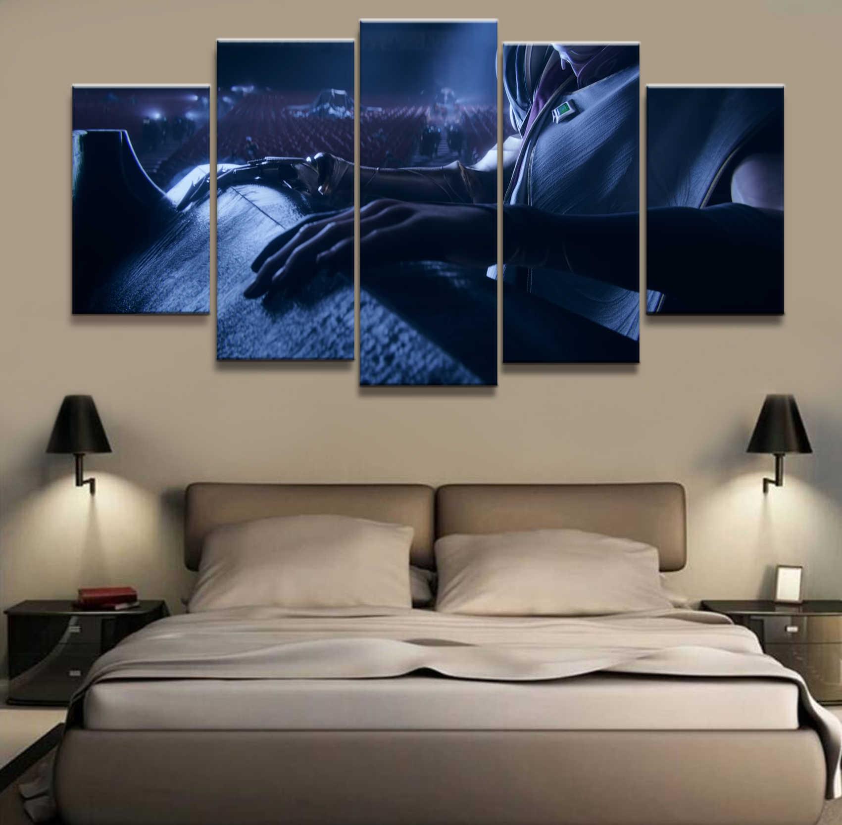 5 لوحة Khada Jhin LOL الدوري من أساطير لعبة قماش رسمة مطبوعة لغرفة المعيشة جدار ديكور فني HD الصورة يعمل المشارك