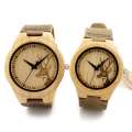Bobobird Lovers' 100% Natural Bamboo Wooden Watch with Genuine Brown Leather Strap Japanese Quartz Movement Casual Watches