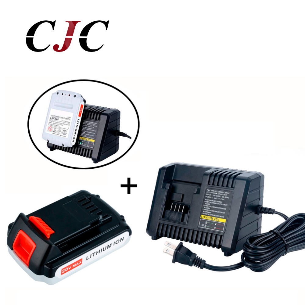 20V Li-ion 2000mAh Rechargeable Power Tool Replacement Battery for BLACK & DECKER LB20 LBX20 LBXR20 + Charger new view cgr d16s replacement rechargeable 7 2v 2200mah li ion battery for panasonic dslr black