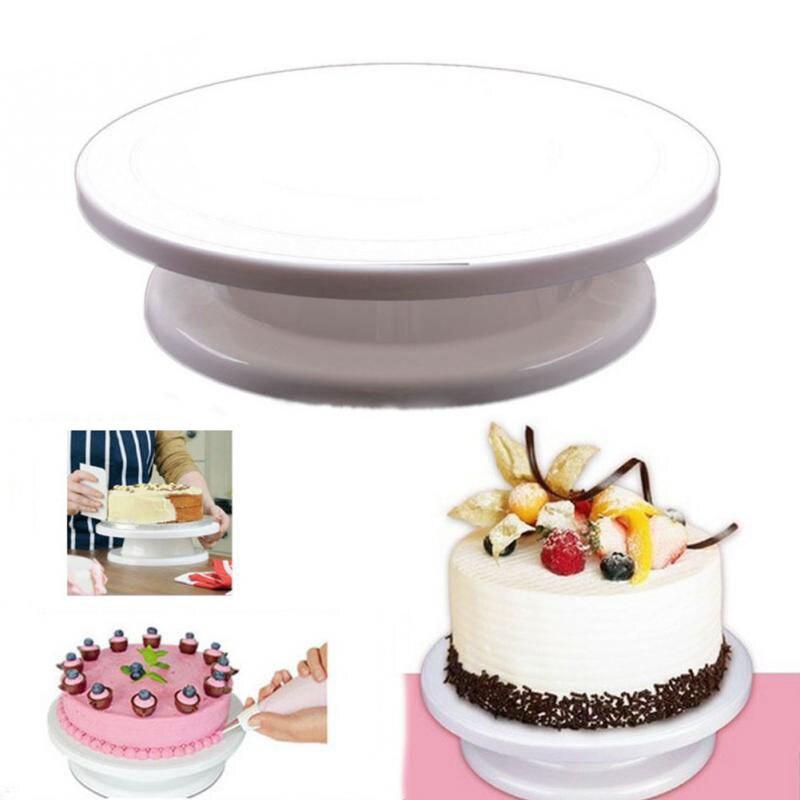 Hot Kitchen Cake Plate Revolving Decoration Stand Platform Turntable Round Rotating Cake Swivel Christmas Baking Rotary Tools