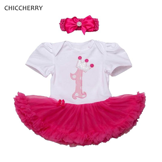 1 Year Baby Girl Birthday Clothes Crown Princess Toddler Lace Romper Dress Gift Headband Set Roupa De Bebe Menina Infant Outfits