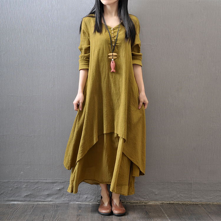 Vintage Women Casual Loose Dress Solid Long Sleeve Boho Ethnic Autumn Long Maxi Dresses Plus Size Retro vestido mujer in Dresses from Women 39 s Clothing