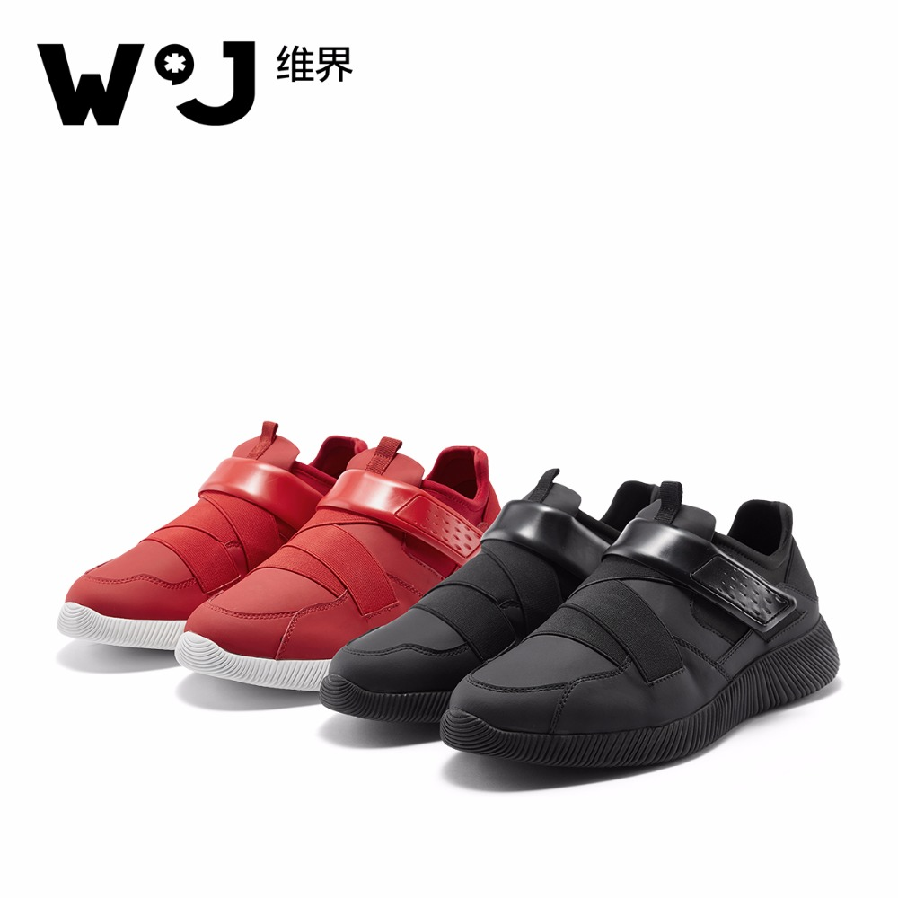 W.J Slip-On mens shoes casual Microfiber Spring Summer Autumn Casual Slip On Breathable Thick Sole Black Red Casual Shoes men  fashion womens casual shoes 2017 spring summer breathable women canvas shoes brand soft thick sole classic black white th085