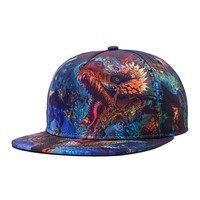 Spring Summer Colorful 3D Print Snapback Caps Hip Hop Baseball CapDragon Flat Hats For Men Fashion Starry Sky Casquette Blue