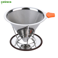 Pour Over Coffee Filter Stainless Steel Cone Coffee Dripper Reusable Double Mesh Pour Over Coffee Maker with Separate Stand