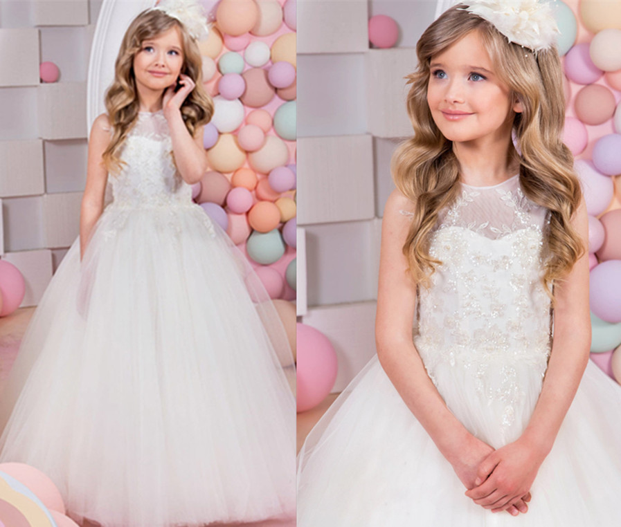 купить Princess White Flower Girls Dresses Ball Gown with Bow Sashes Lace Up O-Neck First Communion Pageant Dresses for Girls Custom онлайн