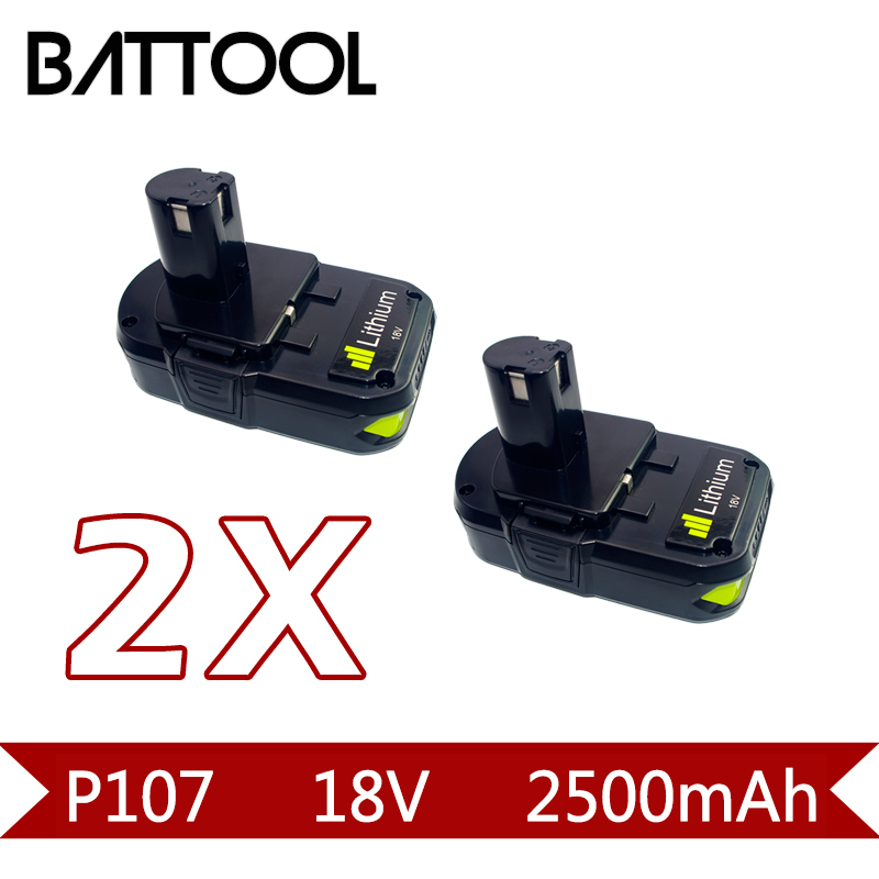 2X 2500mAh 18V P107 Rechargeable Li-ion Battery:Ryobi RB18L25 P100 P102 P103 P104 P105 P107 P108 L20 ryo 18b 5000mah li ion bpl 1815 bpl 1820 bpl 1820g bpl 18151 bpl1820 p102 p103 p104 p107 bid 1801m cad 180l cag 180m p813 p835