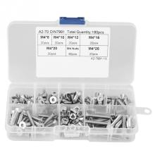 цена на 180Pcs/Lot M4 304 Stainless Steel Flat Head Bolt Screws Nuts Assortment Kit with Box Hex Socket Bolts and Nuts kit High Quality