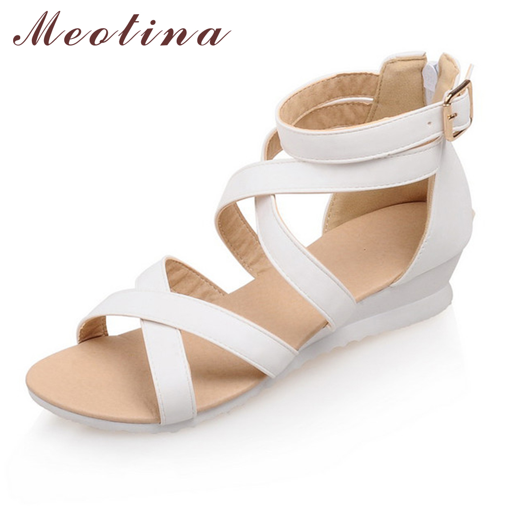 Meotina Rome Shoes Women Sandals Summer Peep Toe Gladiator Low Heel Wedges Female Cheap Zip Solid Cutout White Shoes Size 34-39 phyanic 2017 gladiator sandals gold silver shoes woman summer platform wedges glitters creepers casual women shoes phy3323