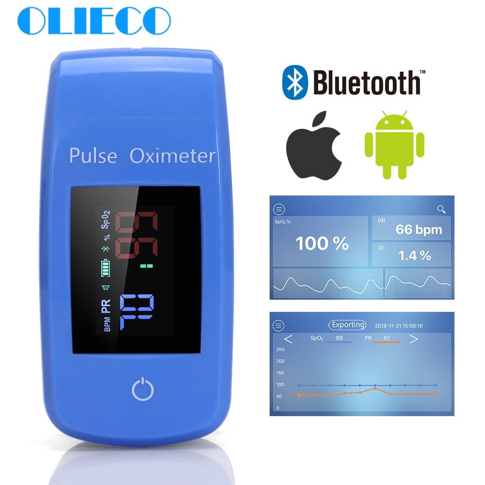 Portable Bluetooth Finger Pulse Oximeter With Case Household APP Blood Oxygen Saturation Meter Medical SPO2 PR Oximeter CE FDA