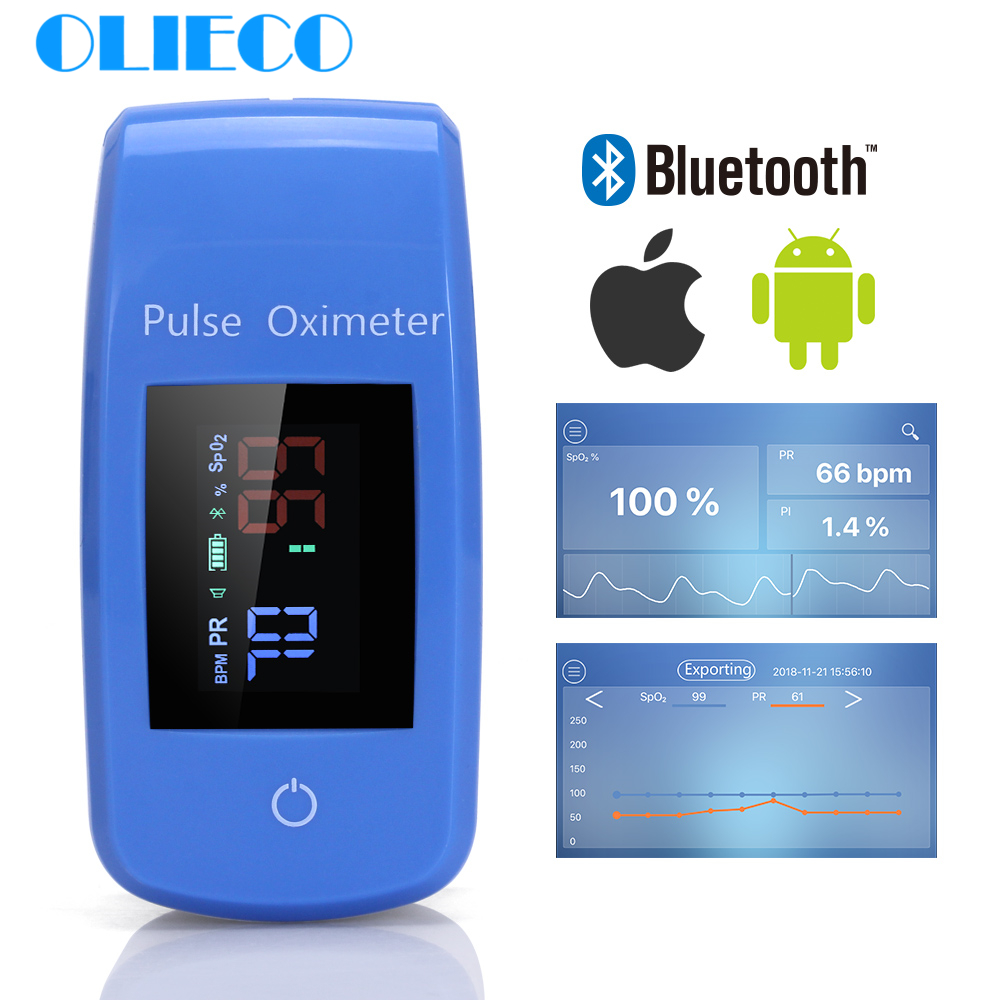 Portable Bluetooth Finger Pulse Oximeter With Case Household APP Blood Oxygen Saturation Meter Medical SPO2 PR Oximeter CE FDA