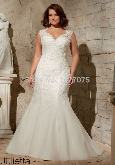 22014 New white lvory plus size Trumpet Cap Sleeve Backless wedding ...