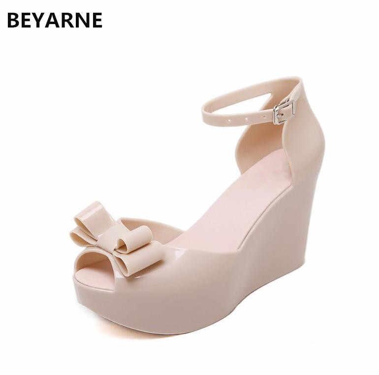 17f1675e982 BEYARNE new roman woman jelly shoes lady high wedges heels sandals women  girls summer travel beach