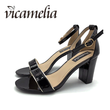 Vicamelia Women's Sandals 2018 Block Heels Nya Ladies Summer Fashionable Buckle Heeled Sandals Öppna Toe Casual Glossy Shoes 564