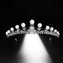 Cor de prata folha pérola strass rainha princesa diadem noiva tiara e coroa headdress casamento cabelo jóias acessórios jl