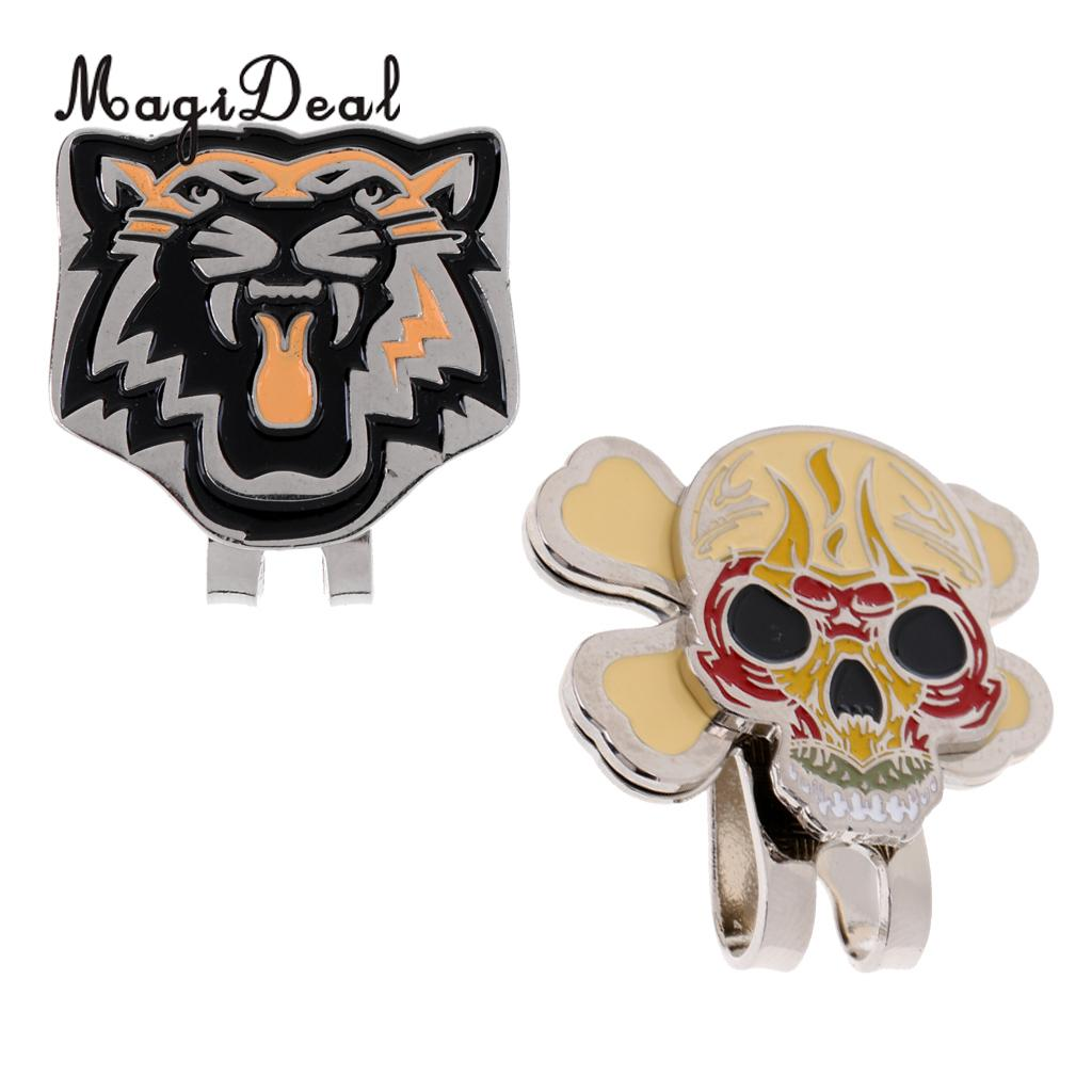 2 Pieces Sturdy Alloy Cool Tiger Skull Magnetic Golf Ball Marker Clip On Golf Cap Visor Golf Accessory Nice Gift