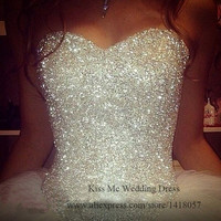 Real Sample Ball Gown Wedding Dress Beaded 2015 Vestido De Casamento Wedding Gowns Lace Up Back