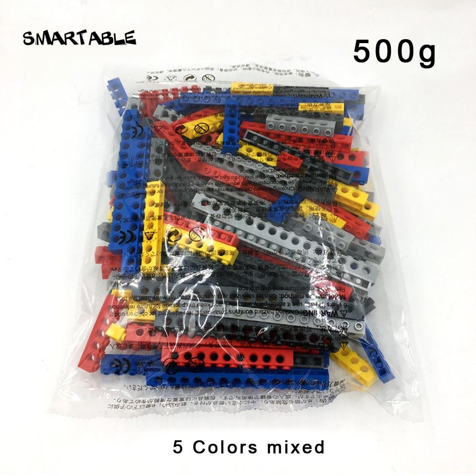 Купить с кэшбэком Smartable  Technic Bricks With Holes 10 sizes 5 colors Mixed Building Blocks MOC Parts DIY Toys Compatible Technic Toys 500g/lot