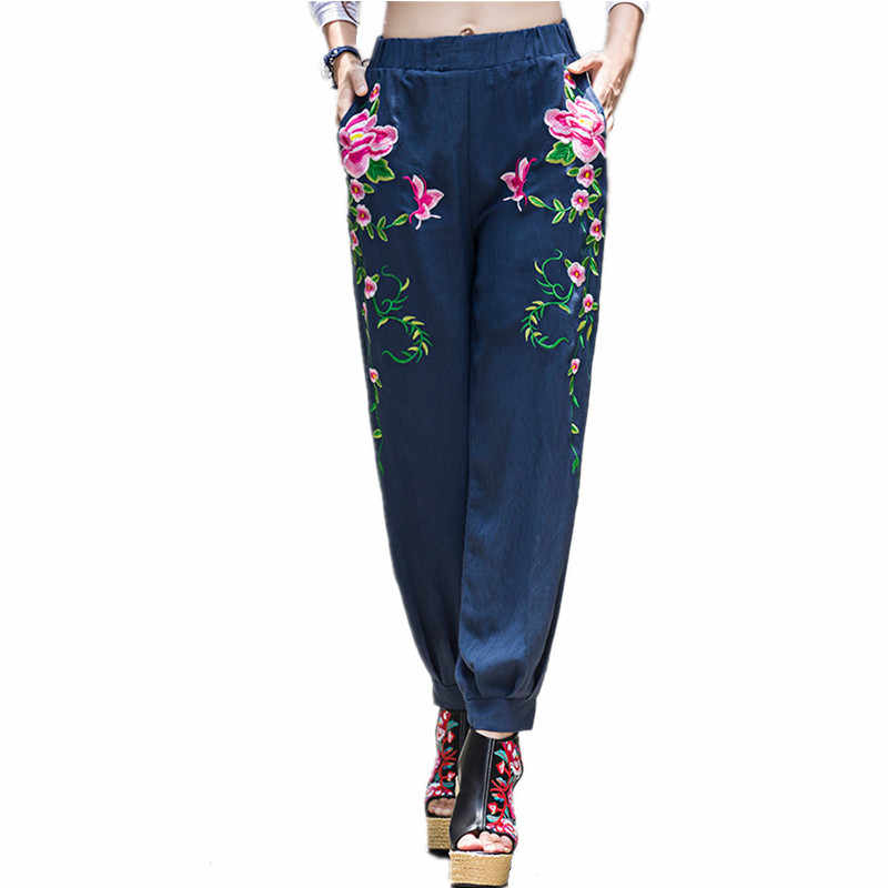 2019 Summer Fashion Embroidery Pants Women Vintage Harajuku Brand Elegant Ladies Trousers Casual Wide Leg Pants Woman Clothes