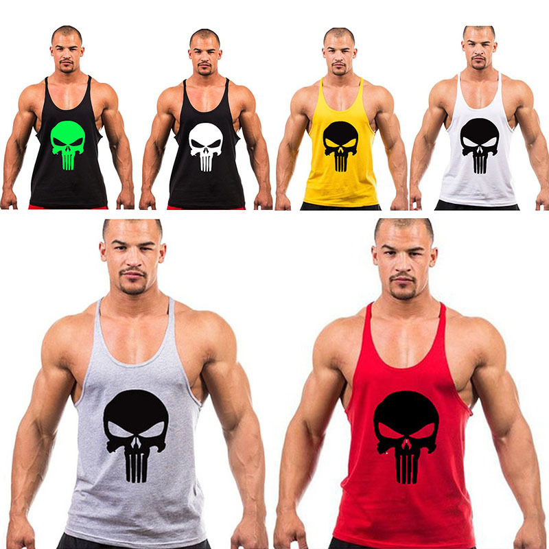 Hot The Punisher Shirt GYM Cotton Sleeveless Y Back Fitness Bodybuilding Tank Top Stringer Vest Solid Color