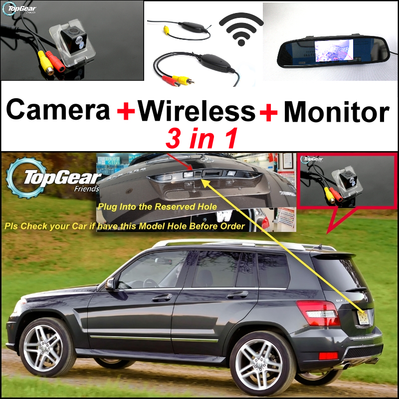 For Mercedes Benz GLK Class X204 3in1 Origial Hole Car Camera & Wireless Receiver & Mirror Screen Rear View Parking System special wifi camera wireless receiver mirror monitor backup parking system for mercedes benz glk class mb x204 2008 2015