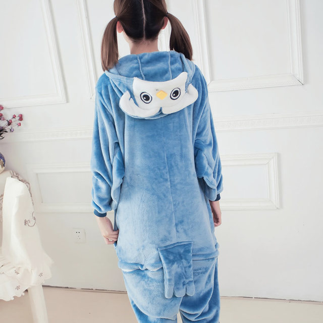 Pajamas For Women Winter Adult Animals Sleepwear Hooded Unisex Cartoon Fashion Clothing Owl Flannel Pajama Sets Animal Pajama 1