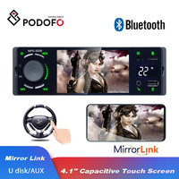 Podofo Radio Car Autoradio 1 Din Touch Screen Bluetooth SD USB MP3 MP5 Multimedia Player FM 1 din radio Auto Audio Stereo AUX IN