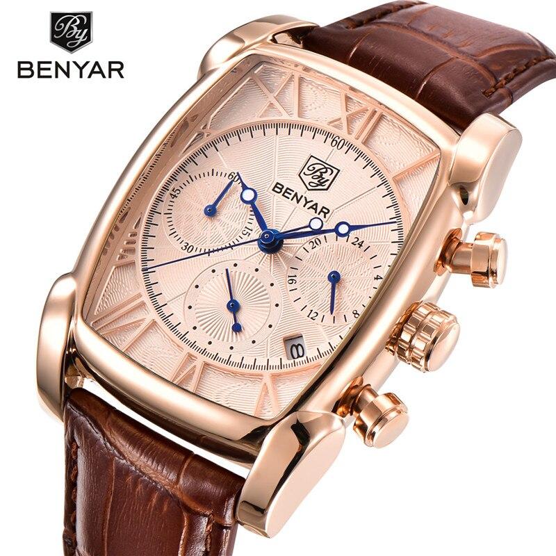Men's Watch Chronograph Rose-Gold Quartz Military-Sport Waterproof Top-Brand BENYAR Luxury