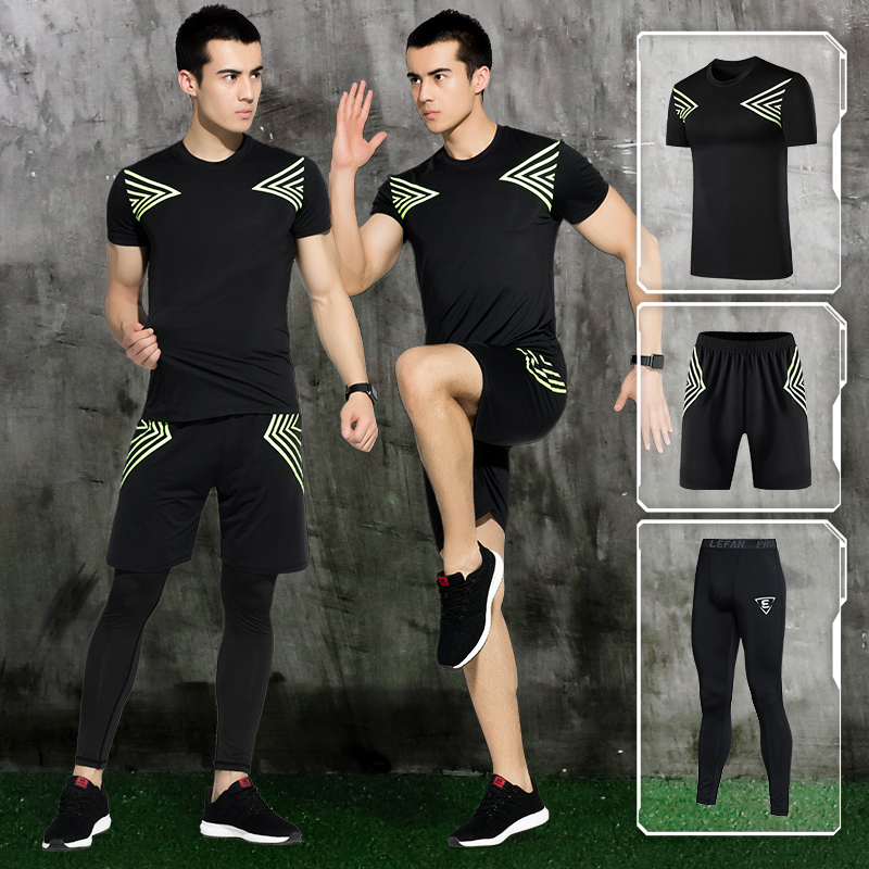 2018 Sports Suit Mens Quick Dry Running Sets Compression Fitness Tights Basketball Train ...