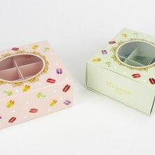 Розового и зеленого цветов прозрачное окно украшение коробка для макарун шоколада печенье на десерт коробки упаковка для миндального печенья поставляем Свадебные сувениры