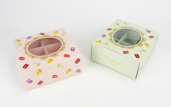 Free shipping pink green transparent window decoration macaron box chocolate cookie dessert boxes macarons packing supply favors