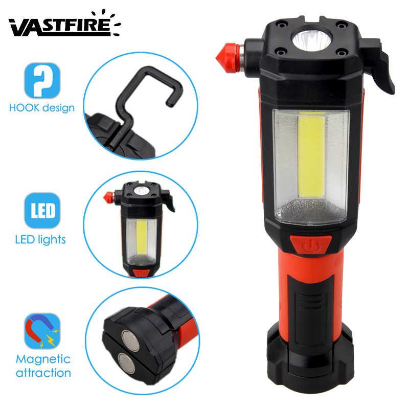 VastFire 2 режима COB светодиодный магнитный аварийный фонарик Автомобильный светодиодный рабочий свет ремонт лампы безопасности молоток вращающийся 360 градусов факел