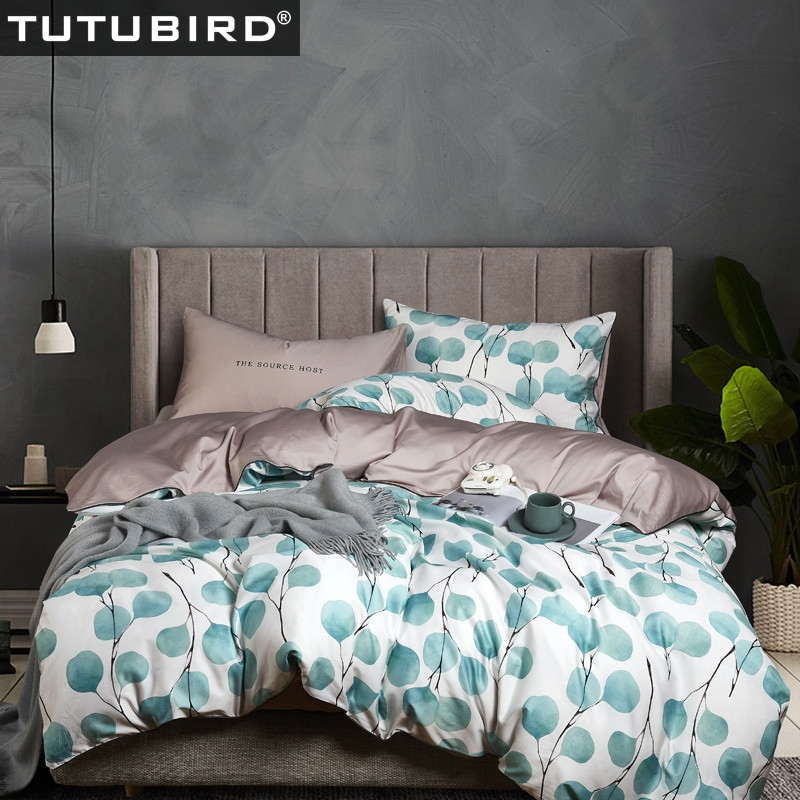 Green leaf print bedclothes Luxury Egyptian cotton bedding set high quality sheets Satin duvet cover bedspread
