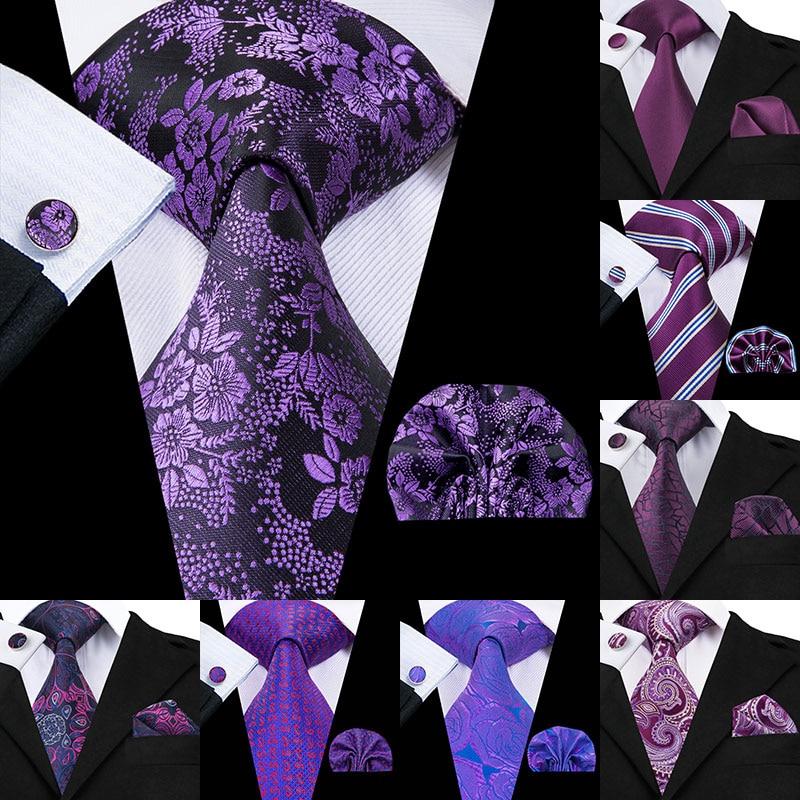 Hi-Tie Luxury Silk Purple Paisley Floral Ties For Men Tie Set Ties And Handkerchiefs Fashion Designer Business Wedding Mens Ties
