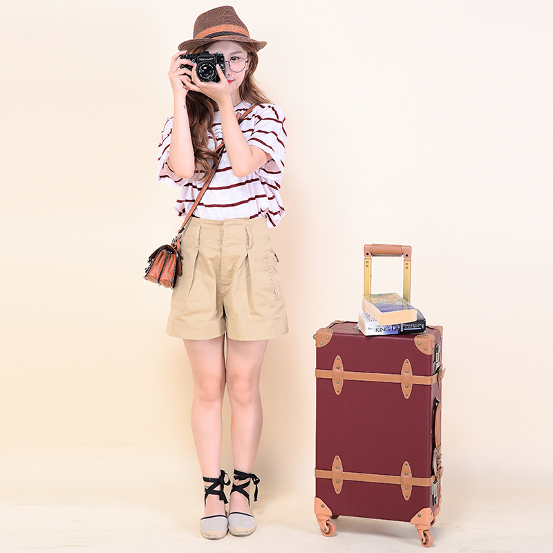 Wholesale!High quality 24 inches retro pu leather trolley luggage on universal wheels,brown vintage travel luggage bags for girl