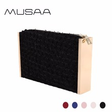 MUSAA Fashion Jacquard Evening Clutch Bag Female New Collection Alloy Frame on Both Sides Shiny Jacquard Cloth Zipper Party Bags(China)