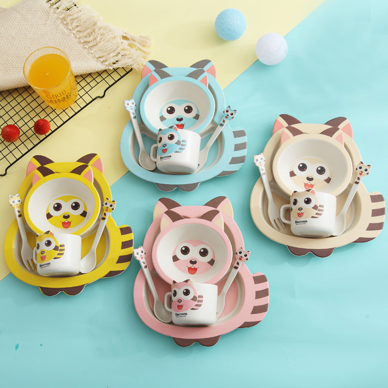 5pcs/set Baby Dish Training Tableware Children Cute Raccoon Feeding Food Dishes Kids Dinnerware With Bowl Cup Spoon Fork Plate