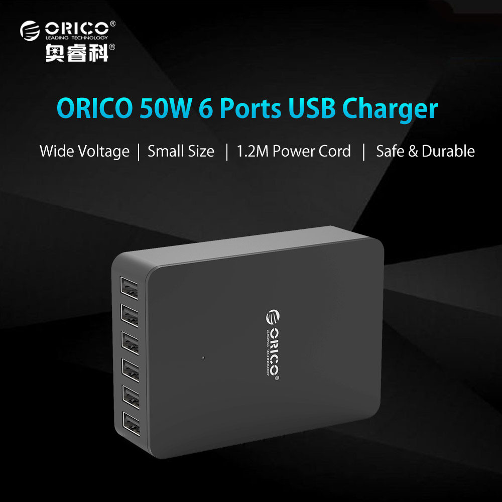 ORICO Universal 6 Ports USB Charger 10A50W Intelligent Identification USB Travel Charger Adapter for Smart Phone Tablet
