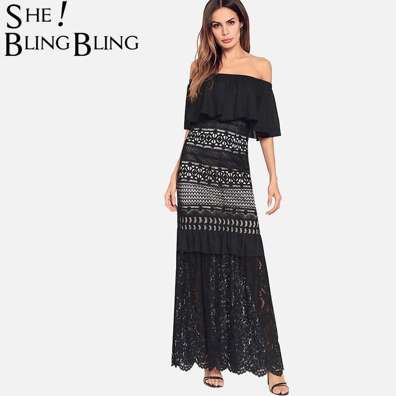 SheBlingBling Off Shoulder The Dress Summer Fashion Crochet Lace Contrast Flounced Dress Scallop Hem Women Maxi Dress pearl beading scallop off shoulder dress